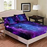 Purple Galaxy Bedding Set Twin Kids Teens Girls Boys Starry Sky Fitted Sheet Space Universe Star Design, Soft Breathable Home Decorative 2 Pcs Bed Sheets with 1 Pillowcase,Top Sheet not Included