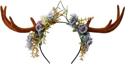 Unisex Headband Out geek Antlers Headband Deer Floral Party Hats for Easter Christmas (Deer)