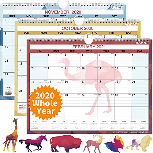 """Desk Calendar 2020 - Small Monthly Desk/Wall Calendar, 14"""" x 11"""", Planner for 2020 Whole Year,180g Thick Paper, Smooth Writing, Large Space for Writing Notes, Ruled Blocks, Corner Protectors, Animal"""