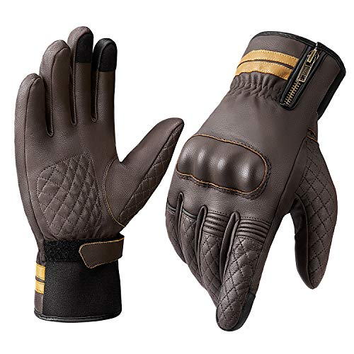 INBIKE Winter Motorcycle Leather Gloves Thermal 3M Thinsulate Goatskin Waterproof Windproof Touch Screen for Motorbike Brown Large