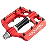 ROCKBROS Mountain Bike Pedals MTB Pedals Aluminum Bicycle Flat Platform Pedals Lightweight 9/16' Non-Slip Sealed Bearing for Road Mountain BMX MTB Bike