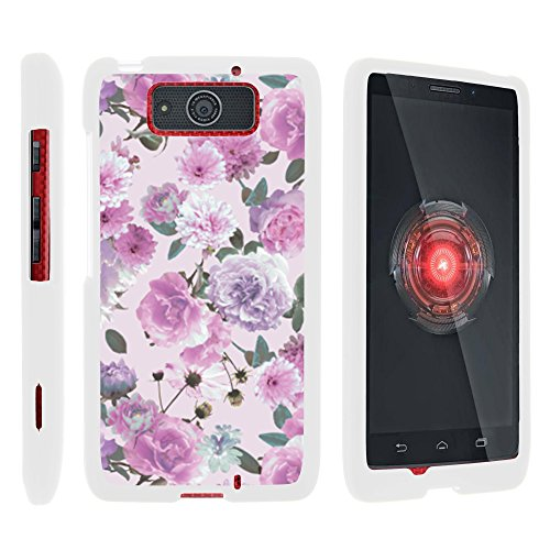 MINITURTLE Compatible with Motorola Droid MAXX Phone Case, Thin Hard Shell Hard Armor Case w/Personalized Graphics - Pink Purple Flower