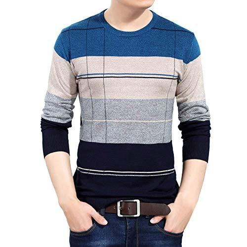 OSYARD Herren Kariertes Gestreiftes Langarm Strick Sweatshirt, Herren Herbst Winter Rundhalsausschnitt Pullover Slim Jumper Strick Outwear Bluse Top (M, Blau)