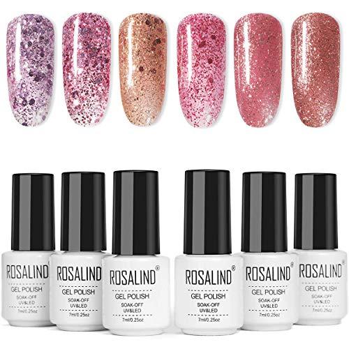 Kit de uñas de gel de esmalte de uñas UV - Serie de lentejuelas de diamantes de oro rosa, juego de goma laca de 6 colores