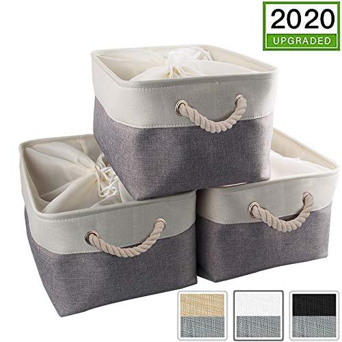 Mangata - Juego de 3 cestas de almacenamiento de tela plegables con asas para armarios, armarios, estantes, ropa, juguetes, toallas, cuarto de baño (pequeño, gris blanco), Gris y blanco., XXLarge