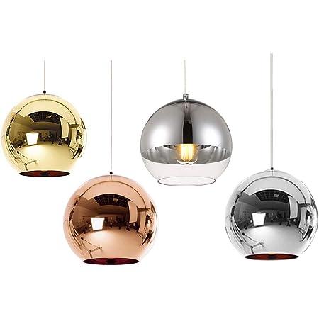 Huahan Haituo Abat-jour Moderne Cuivre Miroir Lustre Boule Suspension globe en Chrome avec fil 120CM,Diamètre (Semi-placage, 15cm)
