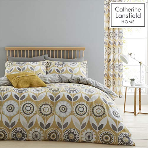 Catherine Lansfield Annika Easy Care Double Duvet Set Ochre