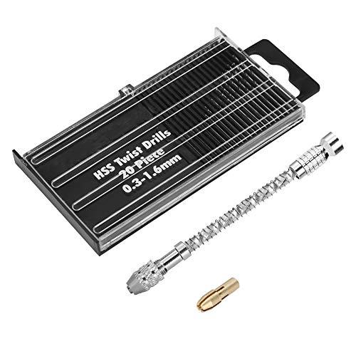 FTVOGUE Ensemble de mini perceuse à main et forets hélicoïdaux micro mini-outils portatifs 0.3-1.6mm pour la fabrication de modèles