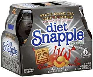 Diet Snapple Bret's Blend Tea Trop-A-Rock Tropical Tea, Six - 16 fl. oz. Bottles