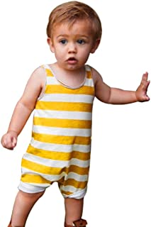 Vovotrade Newborn Baby Boys Girls Bodysuit Sleeveless Striped Romper Jumpsuit Clothes Outfits