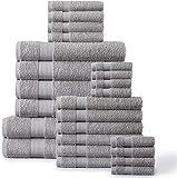 24 Piece Luxury Bath Towels - 100% Ring Spun Cotton Towels Set, Highly Absorbent Shower Towels, Quick dry Towel, 2 Bath Sheets, 4 Bath Towels, 6 Hand Towel, 8 Wash Cloths,4 Fingertip Towels - Platinum