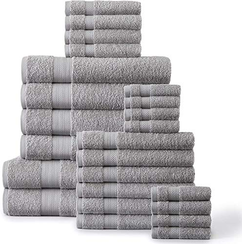 24 Piece Bath Towels Set - 100% Ring Spun Cotton