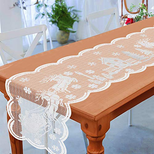 Tifeson Christmas Table Runner - 13 x 72 Inches - White Lace Christmas Santa Reindeer Snowflake Table Runner for Winter Holiday Xmas Dining Table Decorations Dinner Party Supplies