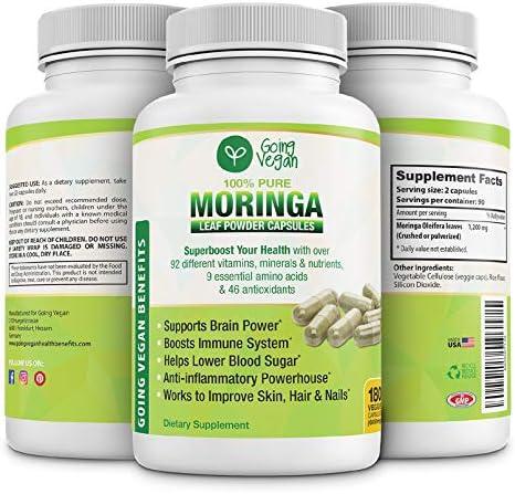 Moringa Capsules 180 Vegan Pure Oleifera Leaf Powder Pills 1200mg Per Serving Anti inflammatory product image