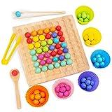 Ardorman Holz Clip Beads Brettspiel,Clip Perlen Spiel Puzzle Board - Montessori Pädagogisches Holzspielzeug,Holz Clip Perlen Regenbogen Spielzeug - Puzzle Brettspiel