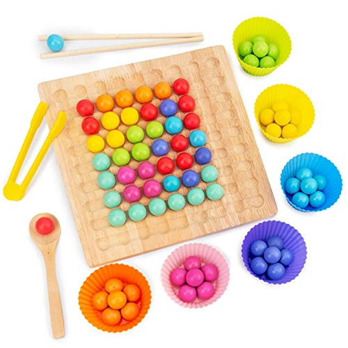 Holz Clip Beads Brettspiel,Montessori Pädagogisches Holzspielzeug - Clip Perlen Spiel Puzzle Board - Holz Clip Perlen Regenbogen Spielzeug - Matching Game Memory Toy - Puzzle Brettspiel -27,3×20,7×5cm