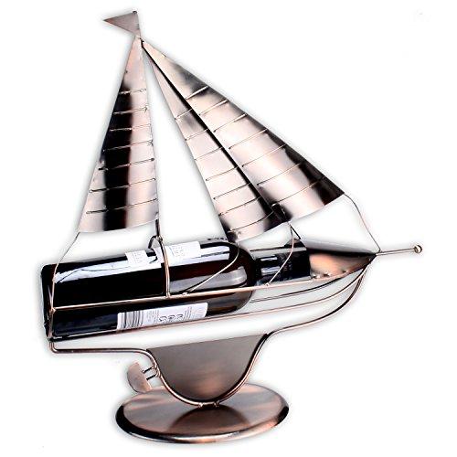 WOP ART Weinflaschenhalter Modell Sailor in edler Kupferoptik 43cm x 42cm x 9cm