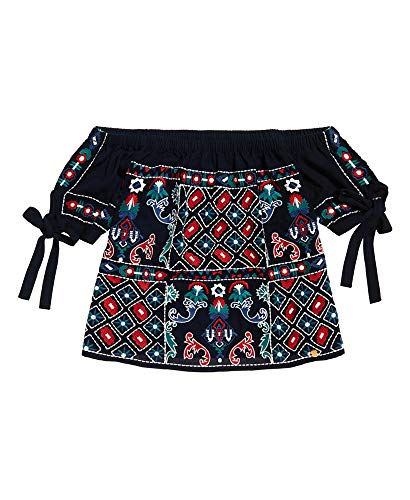 Superdry Damen Shirt Raffella Oberteil mit kurzen Ärmeln und Carmenausschnitt dunkel Marineblau M