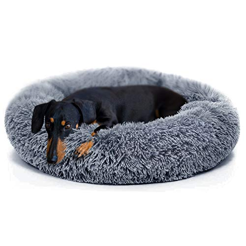 Medium Dog Bed Donut Cat Bed, Self Warming Indoor Round...