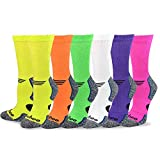 TeeHee Viscose from Bamboo Diabetic Sports Cushion Crew Socks 6-Pack (10-13, Bright)