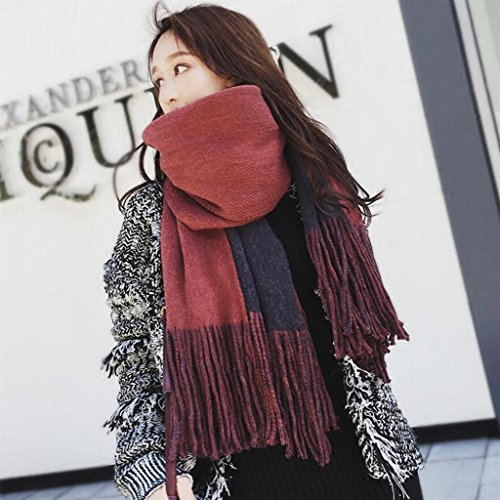 YQQ-écharpe Femme Tricot Couleur Unie Houppe Garde Au Chaud Châle Rectangulaire 47 * 210cm (Couleur : C)