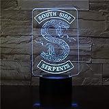 Hqhqhq Riverdale South Side Serpents Snake Logo Luz de Noche LED Decoración de Dormitorio Amigo Regalo de cumpleaños Lámpara de Mesa Luz de Noche con Mando a Distancia -1314
