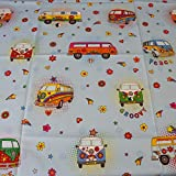 Hans-Textil-Shop Stoff Meterware VW Bus Love Peace Joy