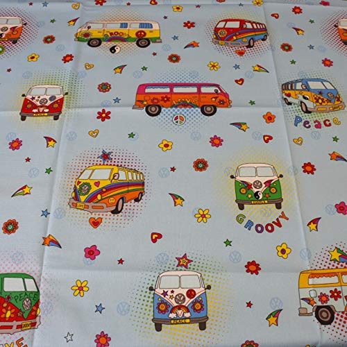Hans textiel Shop stof per meter VW bus Love Peace Joy Flower Power 69 - voor decoratie, tafelkleden, kinderen, naaien, knutselen - 1 meter