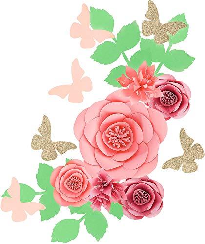 Fonder Mols 3D-Papierblumen-Hintergrund (Rosen-Rosa, 16 Stück), für Baby-Mädchen, Kinderzimmer, Wanddekoration, Hochzeitsdekoration