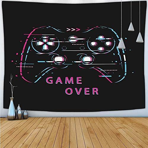 UUJJF Tapiz de juego Game Over Modern Gamepad Hombres Niños Hippie Actualización divertida Tapiz de juego Tapiz para colgar en la pared Tapiz de juego para sala de estar Dormitorio 150x230cm