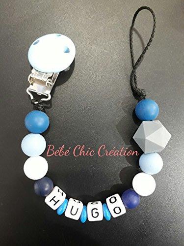 Attache sucette personnalisable Bleu et blanc