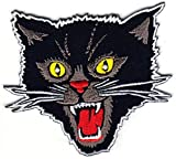 PatchClub Black Cat Patch Iron On/Sew On - Screaming Rockabilly Cat Patch Punk Patches for Jacket, Vest, Jeans, Backpack