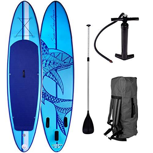 SUP Board Stand up Paddling Surfboard Shark Blau 320x76x15cm aufblasbar Alu-Paddel Hochdruck-Pumpe Transportrucksack 115KG Tragkraft