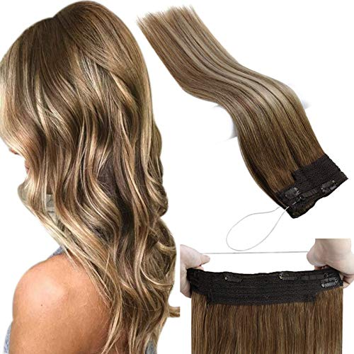 JoYoung Halo Hair Extensions 14inch Remy Invisible Wire Human Hair Extensions Medium Brown Mixed with Platinum Blonde Balayage Halo Couture Hair Extensions 80grams