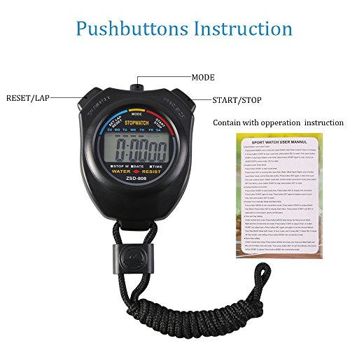 Vicloon Digital Sport Stopwatch Timer with Stainless Steel Whistle,Large LCD Display Suitable for Football,Basketball, Running,Swimming,Fitness and More