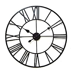 Round Wall Clock Vintage Big Roman Numerals Quality Quartz Wall Art Decor Clocks Solid Iron Skeleton Easy to Read Battery Operated-40CM(16inch)