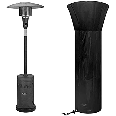 Essort Patio Heater Cover Waterproof 420D Oxford Patio Gas Heater Warm Heating Fire Cover Durable with Straps Outdoor Garden Furniture Cover Standup Tower Heater Vertical 88.97x33.46x18.91