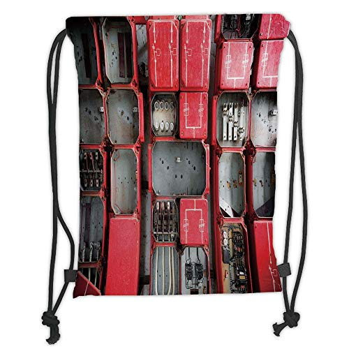 Fevthmii Drawstring Backpacks Bags,Industrial Decor,Fuse Cabinet Close Up Industrial Type Junction Cables Box Electricity Decor,Red White Grey Soft Satin,5 Liter Capacity,Adjustable St