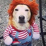JUZIPS Déguisement pour chien effrayant Vêtements pour Halloween Cosplay Poupée Chucky Dog Costume Porter un chapeau Drôle de fête pour chien Costume de Noël
