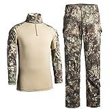 QCHENG Chemise de Combat Militaire Homme Airsoft Shirt Tenue Camouflage Uniforme...