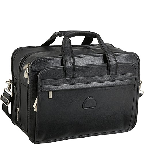 amerileather leather briefcases Black Leather Practical Expandable Computer Case (#2438-0)