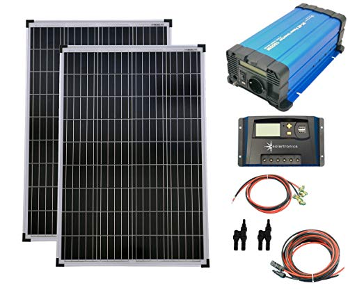 SET 2x 100W Poly Solar Modul 20A Laderegler gelb Spannungswandler 1000W rein Kabel Stecker Komplettset Solarmodul Photovoltaik Inselanlage
