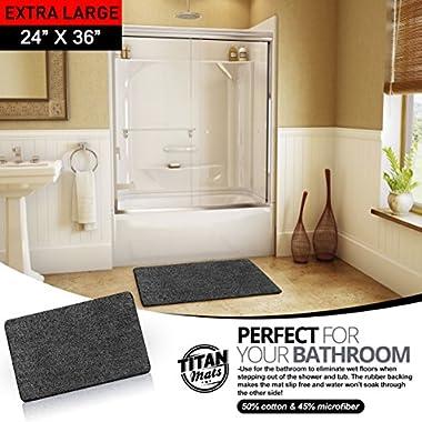 Indoor Non Slip Super-Absorbent Indoor Doormat | Absorbs Mud | Traps Dirt | Latex Bottom | 24 x36  | Machine Washable Carpet | Black & White Fiber | Extra Large Rug| TITAN MATS: 2018