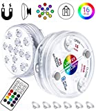 LOFTEK Submersible LED Lights Remote Control (RF), Suction Cups, Magnets, Color Changing Waterp…