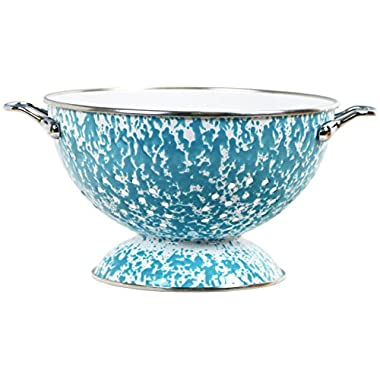 Calypso Basics by Reston Lloyd Powder Coated Enameled Colander, 3 quart, Turquoise Marble
