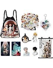 De Beloofde Neverland Gift Set, 50 stuks Stickers+Trekkoord Bag+Ketting+Poster+Broche Kaart+Sleutelhanger (Poster)