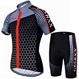 X-Labor - Maglia da ciclismo da uomo per mountain bike, ad asciugatura rapida, in jersey, a maniche corte + pantaloni da ciclismo con imbottitura 3D, colore rosso, 5XL