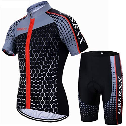 X-Labor Herren MTB Radtrikot Set Schnell Trocknend Jersey Kurzarm + Radhose mit 3D Sitzpolster Rennrad Outdoor Fahrradbekleidung Rot L