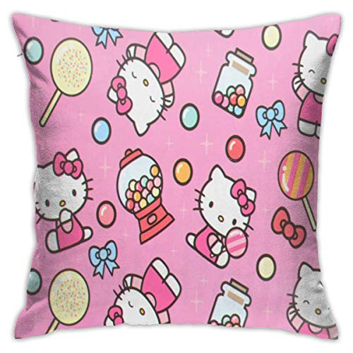 N / A Hello Kitty Pillowcase Sofa Cover Seat Cover Plush Fabric 45x45 Cm Home Products Comfortable Soft For Living Room