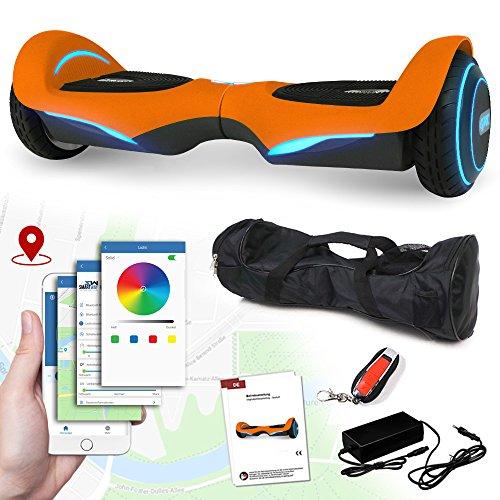 Balance Scooter Vision 800 Watt mit App Funktion, beleuchtete Felgen mit RGB-LED Farbwechsel, Bluetooth Lautsprecher, Kinder Sicherheitsmodus Elektro Self Balance E-Scooter (orange)